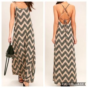 "Lulus ""It's a Scorcher"" Black/Tan Maxi Dress NWT"